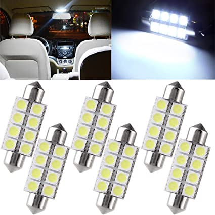 "10x White 12-SMD 1.72/"" 42mm 578 211-2 LED Bulbs For Car Interior Map Dome Lights"