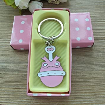 Amazon.com: Baby Girl Shower Rattle Keychain Favor Pink ...