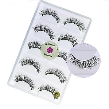 10ee7e9c9c3 Amazon.com : Natural 3D Real Mink False Eyelashes LASGOOS 100% Siberian Mink  Cruelty-free Luxurious Short Cross Winged Fake Eye Lashes Daily Makeup 5 ...