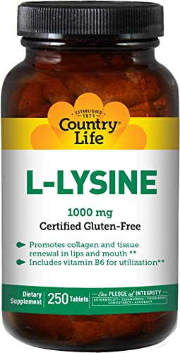 Country Life L-Lysine 1,000mg Essential Amino Acid with Vitamin B6 for Advanced Utilization – Supports Collagen Formation, Function in Immune Support Renewal – Vegan, Gluten-Free – 250 Tablets