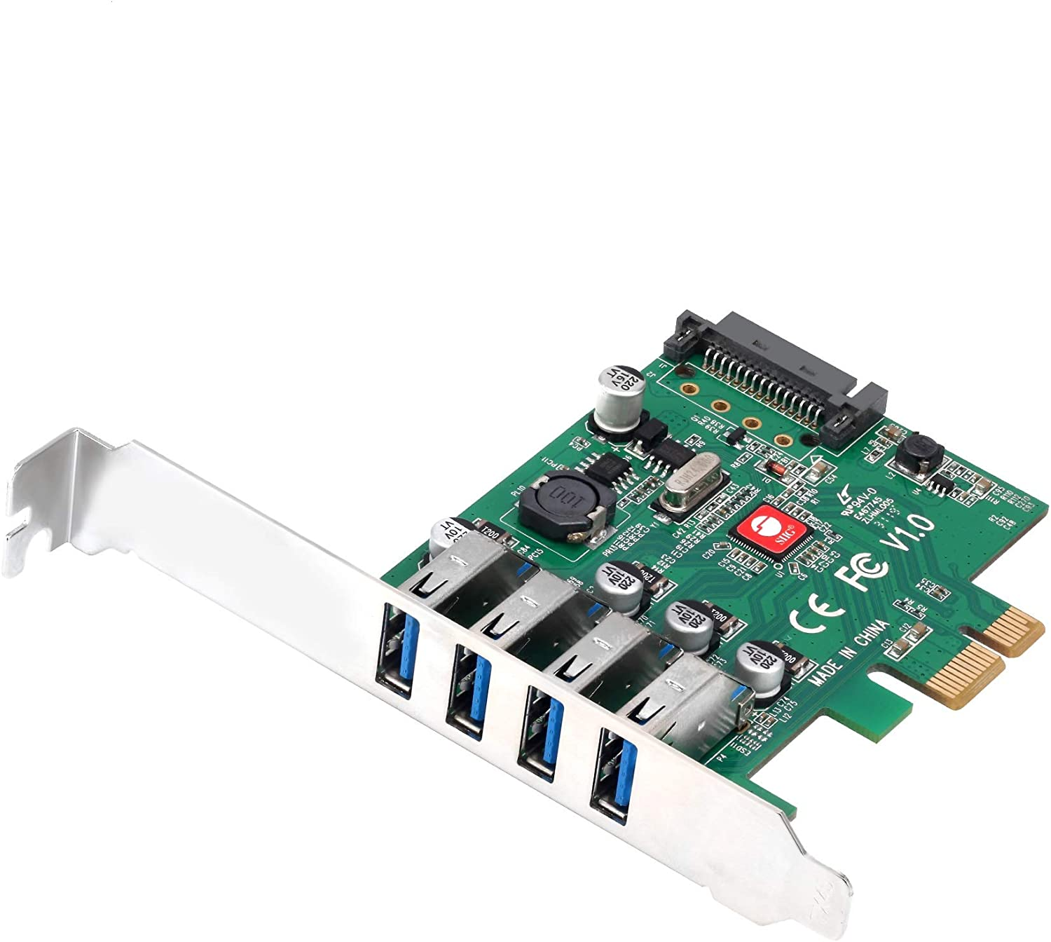SIIG Dual Profile [DP] USB 3.0 4-Port (5Gbps) PCIe 2.0 Host Expansion Card Adapter for Windows Desktop PC with PCI Express Slot