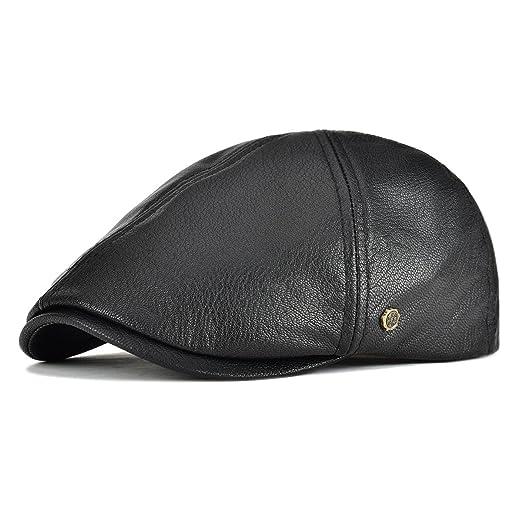 0a895fff88f VOBOOM Lambskin Leather Ivy Caps Classic Ivy Hat Cap 6 Pannel Cabbie Beret  hat (S
