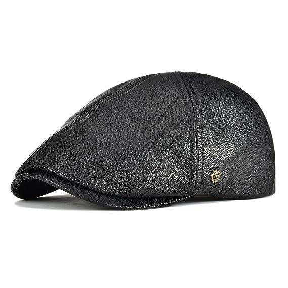 a9f771137bd VOBOOM Lambskin Leather Ivy Caps Classic Ivy Hat Cap 6 Pannel Cabbie Beret  hat (S