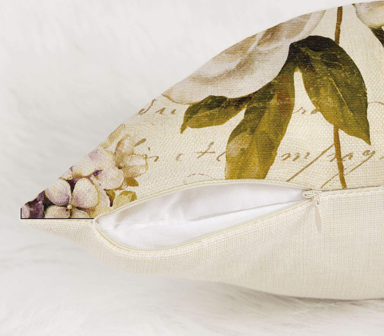 4TH Emotion Marche de Fleurs III by Lisa Audit Vintage Flower Butterfly Home Decor Design Throw Pillow Cover Pillow Case 18 x 18 Inch Cotton Linen for Sofa