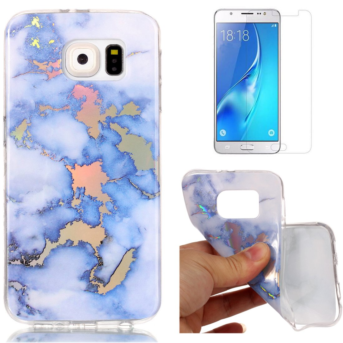For Samsung Galaxy S6 Marble Case Blue and Gray,OYIME Unique Luxury Glitter Colorful Plating Pattern Skin Design Clear Silicone Rubber Slim Fit Ultra Thin Protective Back Cover Glossy Soft Gel TPU Shell Shockproof Drop Protection Protective Transparent Bum