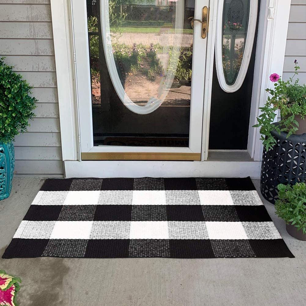 Poowe Buffalo Check Rug - Cotton Washable Porch Rugs Door Mat Hand-Woven Checkered Plaid Rug for Doorway/Kitchen/Bathroom/Entry Way/Laundry Room/Bedroom 2' x 3',Black and White
