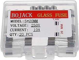 Packung mit 20 St/ück BOJACK T1AL250V 5x20 mm 1A 250V Langsamer Schlag Glas sicherungen 1 Ampere 250 Volt 0,2 x 0,78 Zoll Glasrohr Verz/ögerungs sicherungen