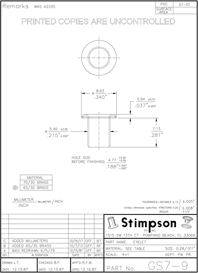Amazon Com Stimpson Brass Eyelets Reliable Durable Heavy Duty Gs