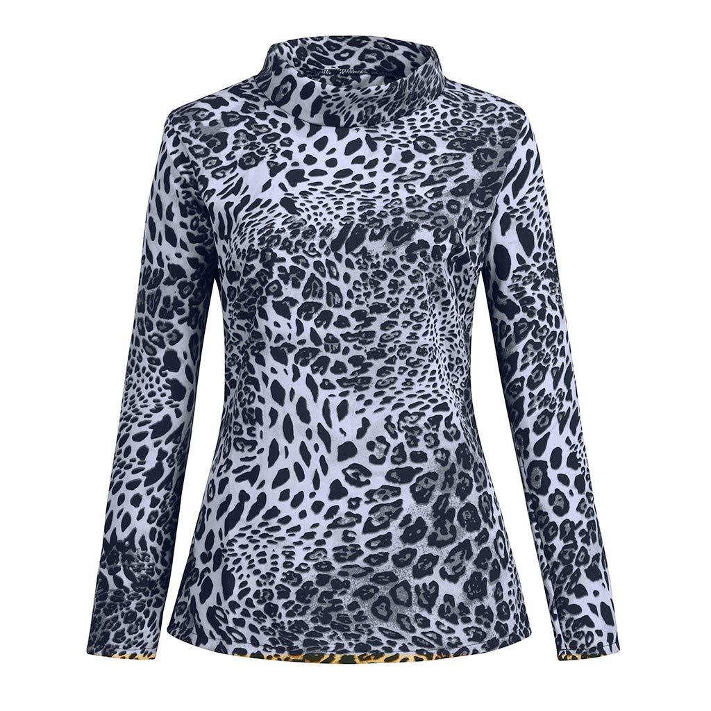 Zalanala Womens Leopard Print Turtle Roll Neck T Shirt Jumper Tops Bottom Blouse
