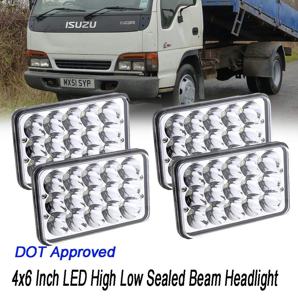 4x6 LED Headlights For Kenworth T800 Freightliner FLD120 Peterbilt 379 Isuzu NPR