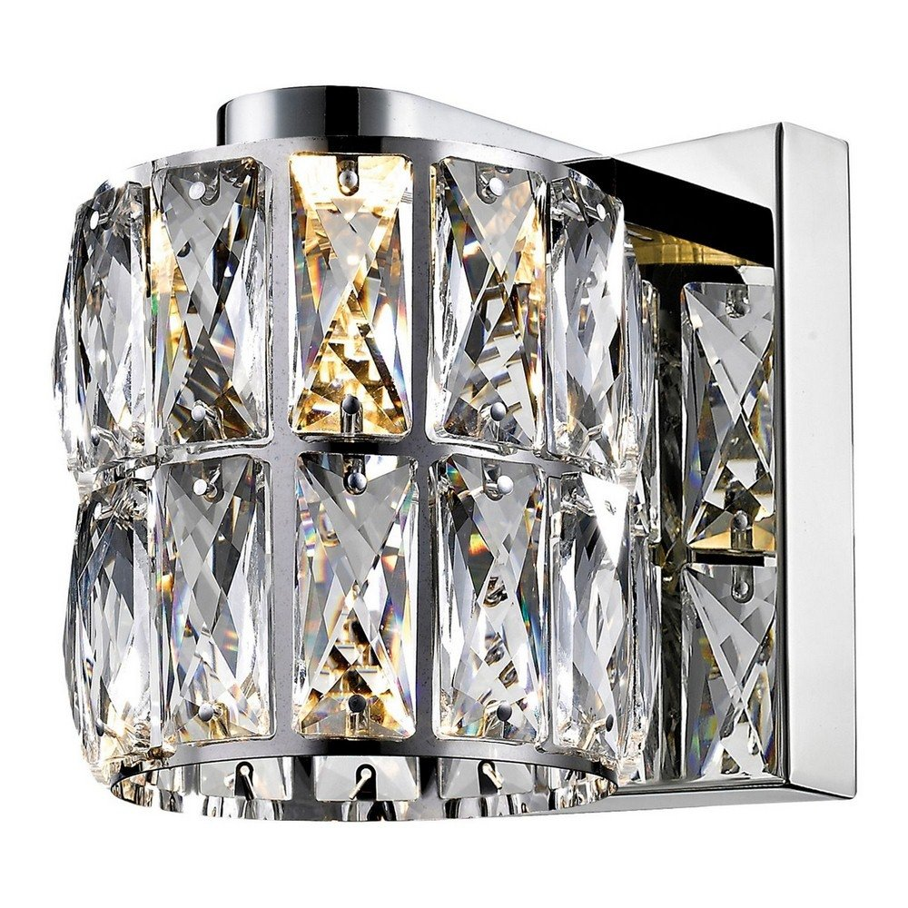 Access Lighting Ice Crystal Vanity - Mirrored Stainless Steel Finish with Clear Crystal Glass Shade