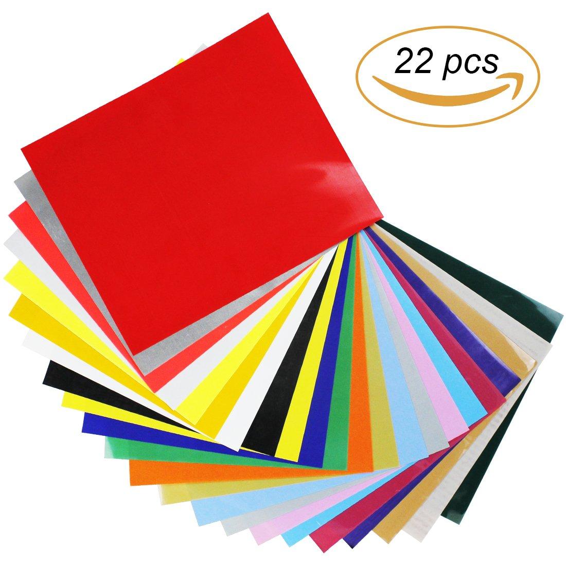 Pantipinky HTV Heat Transfer Vinyl Bundle 12x10-22 Pack of Assorted Colors Best HTV Vinyl for Silhouette Cameo, Cricut, Heat Press - Bonus Teflon Sheet Iron On vinyl for DIY T-shirts by Pantipinky
