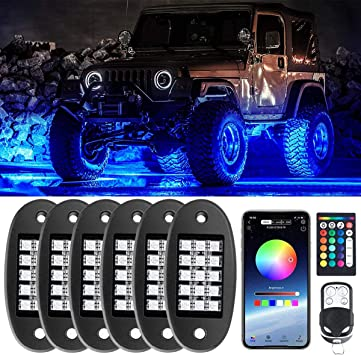 90 LEDs Multicolor Neon Underglow Waterproof Music Lighting Kit with APP /& RF Control for Jeep Off Road Truck Car ATV SUV Motorcycle(6 Pods)-Ship from America Vapeart RGB LED Rock Lights