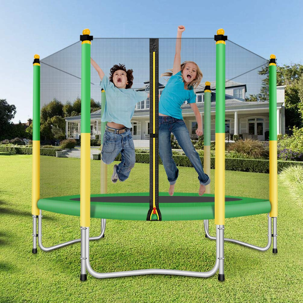 Fashionsport OUTFITTERS Trampoline with Safety Enclosure -Indoor or Outdoor Trampoline for Kids-Yellow Green-5 feet