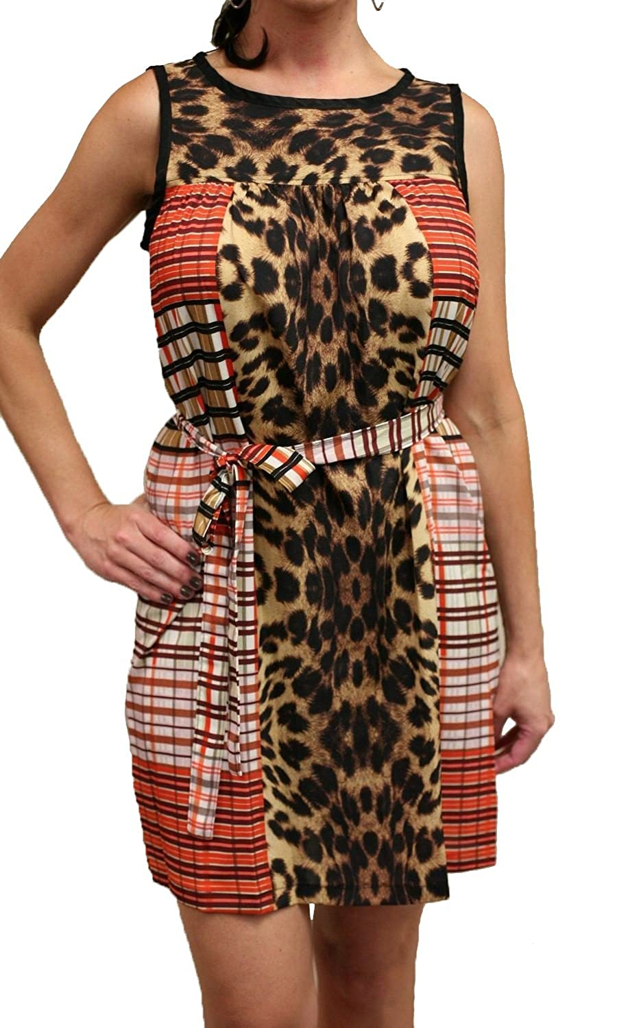 Uncle Frank 71319 Sleeveless Leopard Print Dress with Plaid Sides