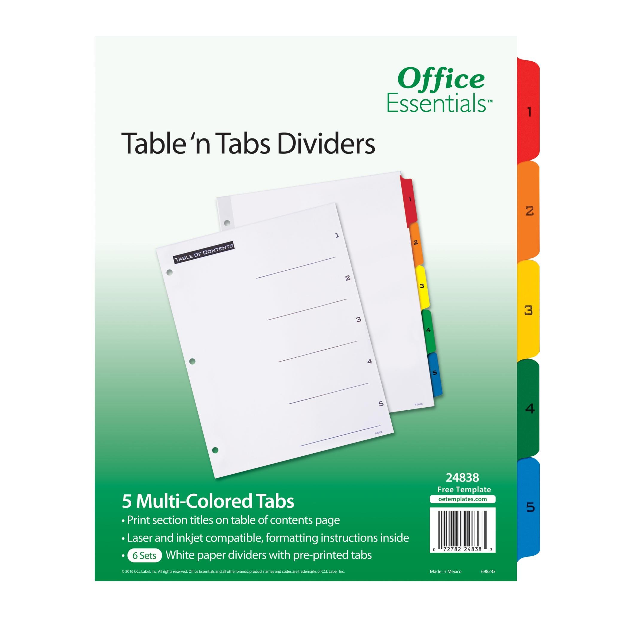Office Essentials Table 'N Tabs Dividers, 8-1/2'' x 11'', 1-5 Multicolor Tab, Laser/Inkjet, 6 Pack, (24838)