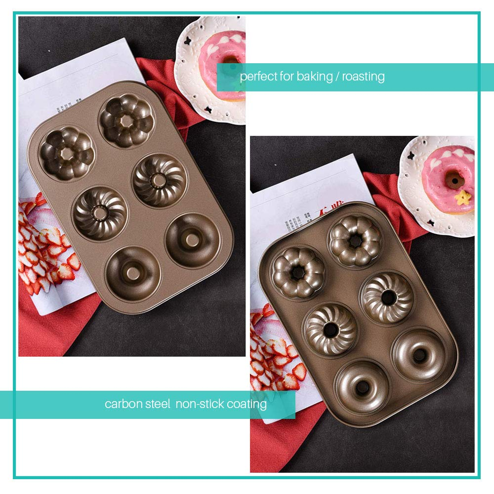 Cruller Baking Pan Donut Pan Makes 6 Donuts,3 Pattern and Non-Stick Donut Mold Safe Baking Tray Maker Pan for Cake Biscuit Bagels Donut Cake Mold 6-Cups Fancy by Indipartex (Image #3)