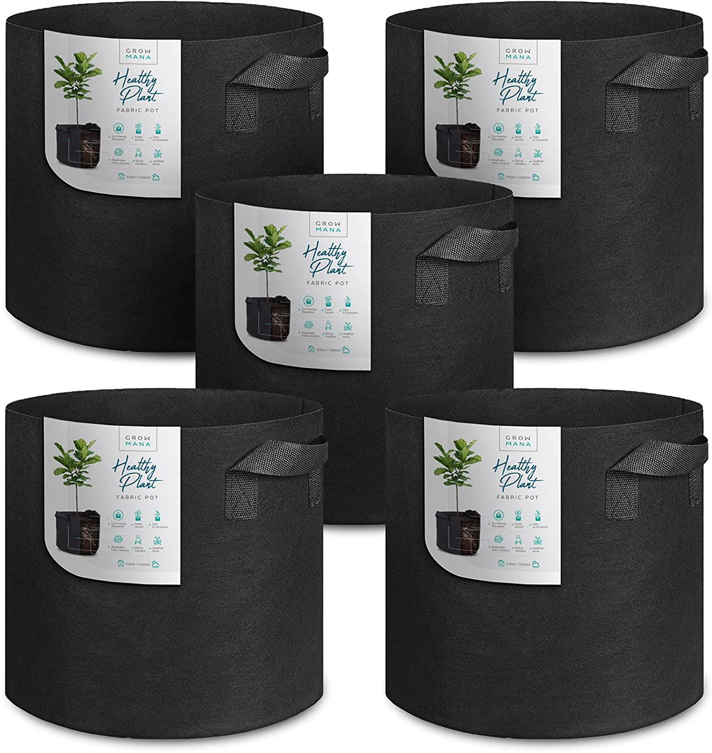 Grow Mana - Growing Bags - Heavy Duty - Thickened Nonwoven - Air Circulation Fabric - Planter Pot - Vegetable - Flower - Plant Grow Bags - Garden and Farm (5 Gallons)