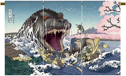 Noren Godzilla Ukiyoe Sakura no Utage Japanese Curtain Doorway Made in Japan Limited