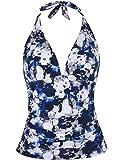 Mycoco Women's Halter Swim Top V Neck Swimwear Front Shirred Tankini Top
