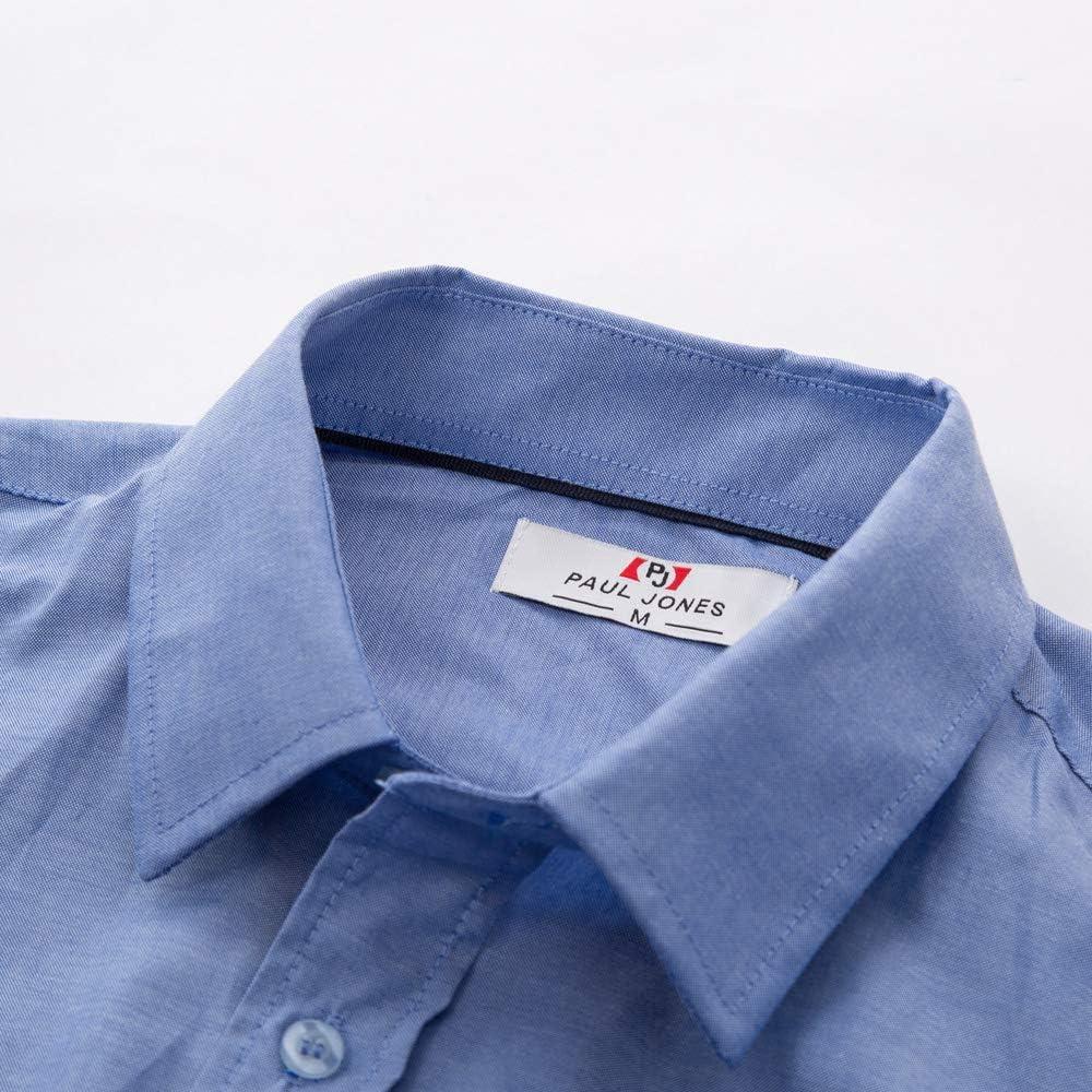 PJ Mens Long Sleeve Classic Collar Button Placket Pocket Solid Oxford Shirt