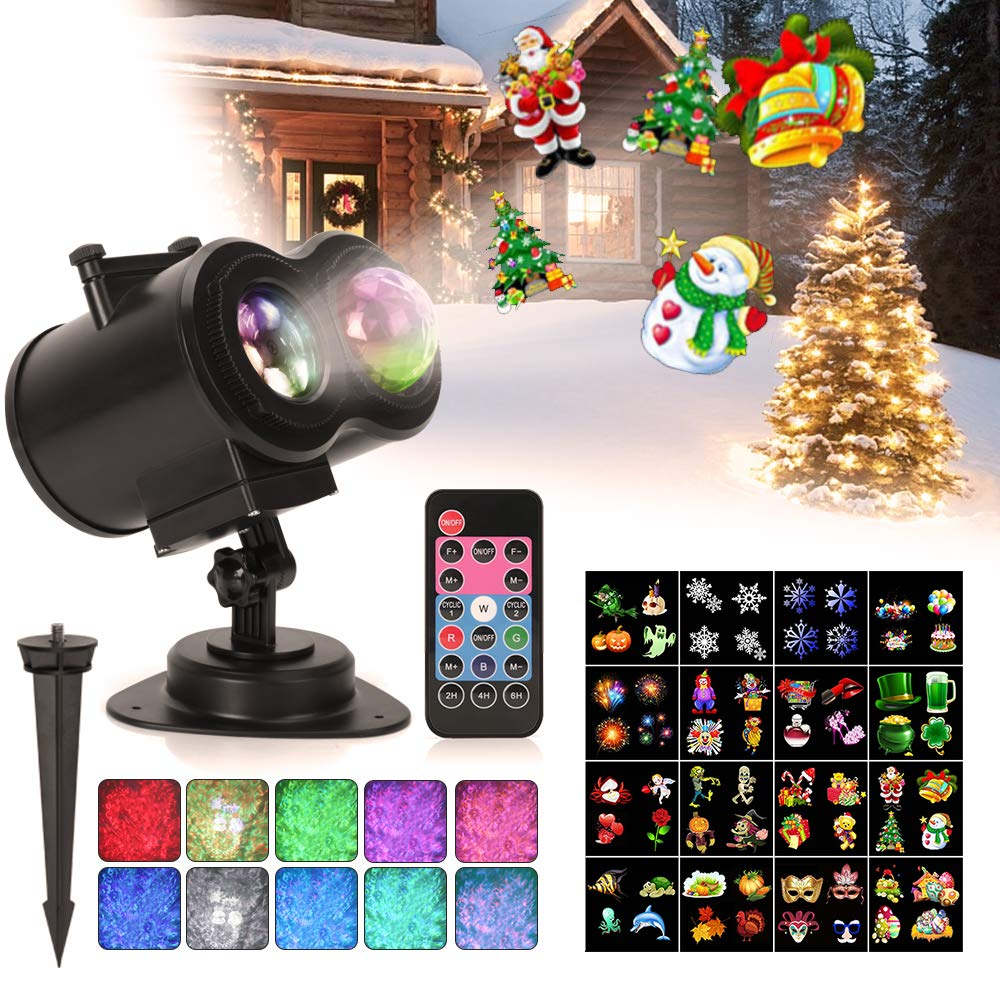 Ocean Wave Christmas Projector Lights Remote Control 2 In 1 Moving
