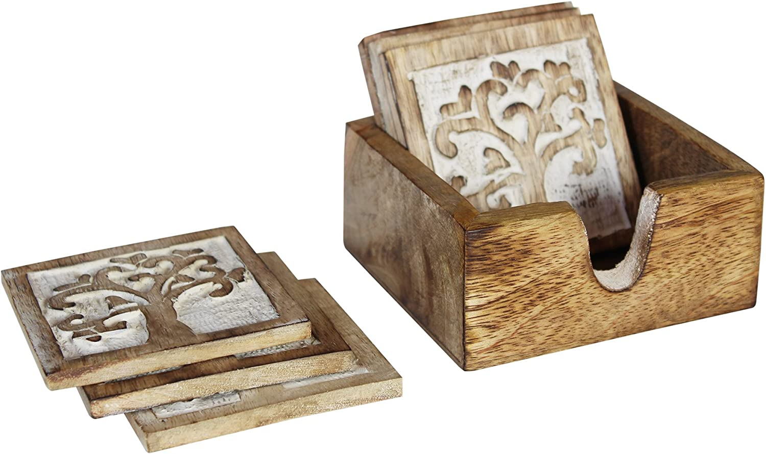 Handmade Wooden Coasters Pack of 4 for Drink Tea Coffee Table White Distressed Floral Design Coaster with Holder Stand
