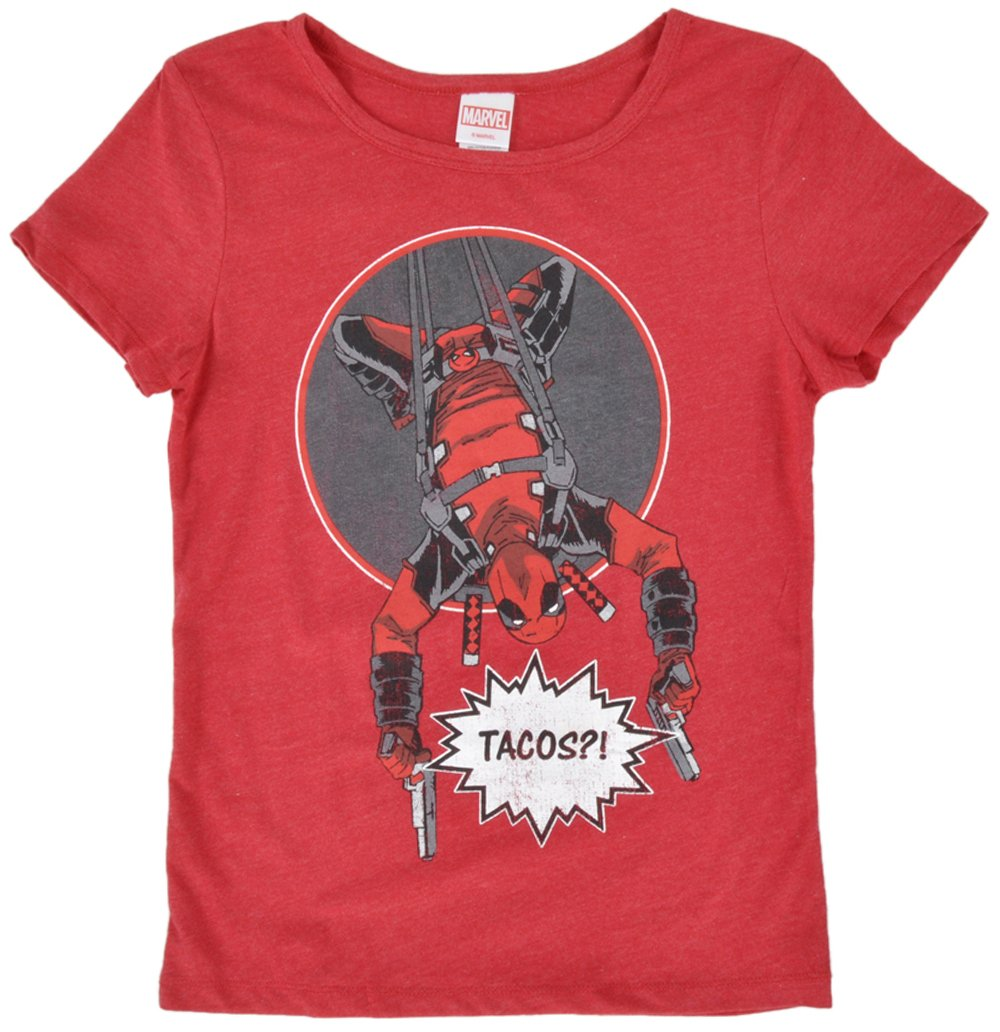 Marvel Deadpool Tacos Tshirt In Heather Red S3