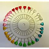 Kunststoff Kopf Extra Lang Pins–verschiedene Farben–Herz