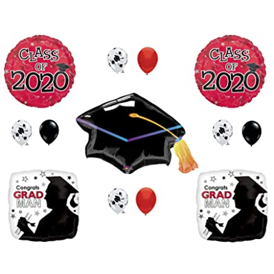 Grad Man Red & Black CLASS OF 2020 Graduation Party Balloons Decoration Supplies: Everything Else