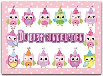 Großartig Eulen Einladungskarten Einladung Kindergeburtstag Mädchen Kinder Geburtstag  Pink Rosa Im Set 12er Girls Mädels Eule