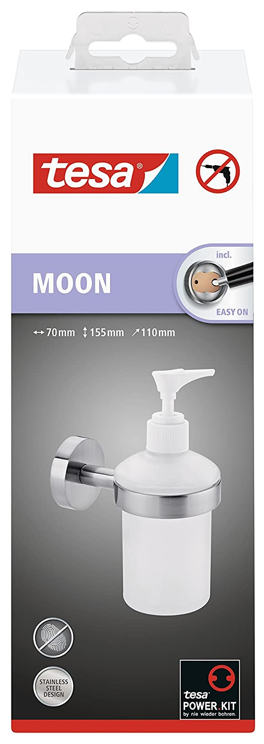 Tesa Moon - Dispensador de jabón de pared (aspecto de acero inoxidable, Vidrio Satinado, Incluye klebel ösung, 200 ml, Sostiene hasta 6 kg, 155 mm x 70 mm x ...