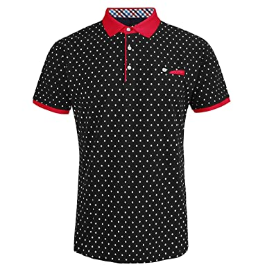 01740bcc6 Mens Cotton Slim Fit Polo Shirts for Men Short Sleeve Breathable Turn Down  Collar Classic Golf