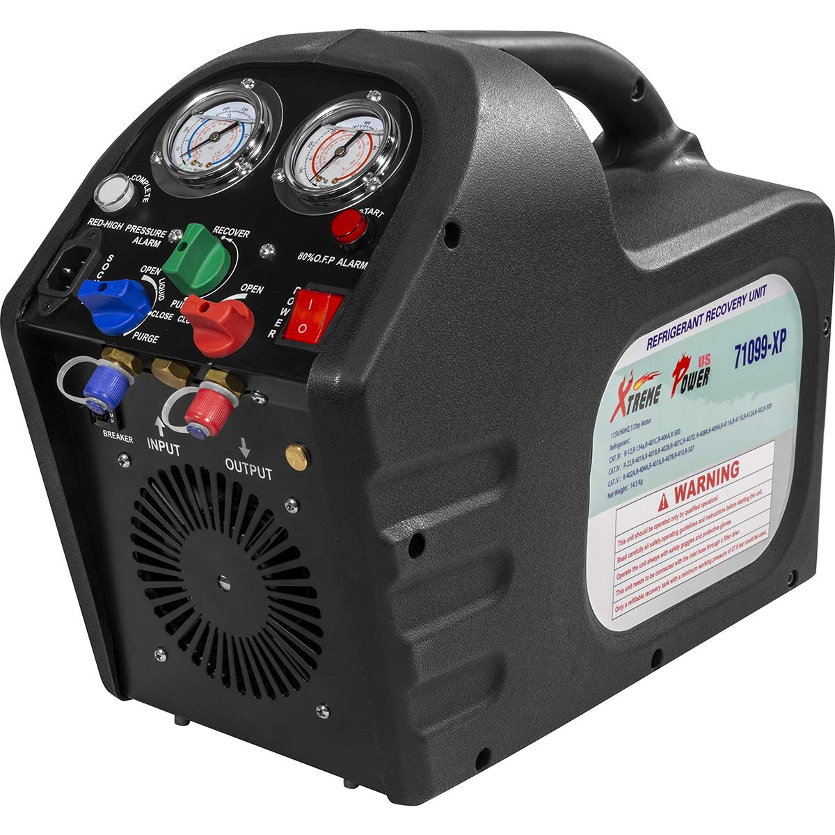 XtremepowerUS 1//2HP Portable Refrigerant Recovery Machine 115V AC Refrigerant Recycling HVAC Refrigerant Air Condition w//Shoulder Strap