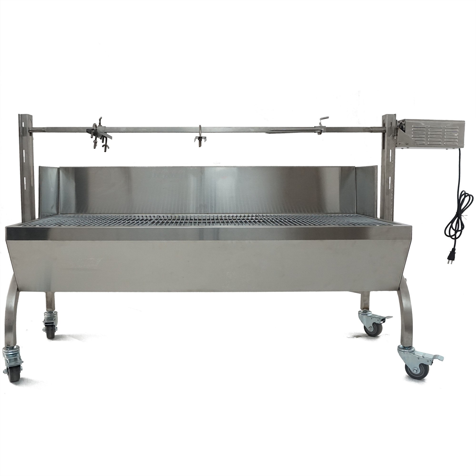 Rotisserie Grill Roaster w/ Windscreen Stainless Steel 25W 125LBS capacity BBQ