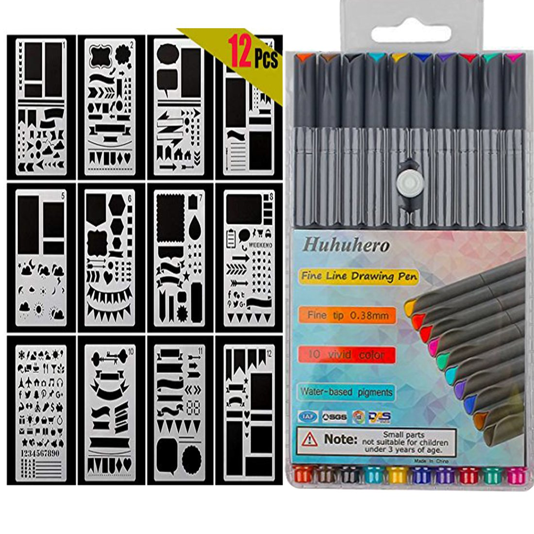 10-Colors Bullet Journal Pens with 12-Pieces Drawing Stencils Perfect for Planner Journaling Writing Note Taking Notebook Diary Calendar and School Office Supplies (22 PCS) Huhuhero