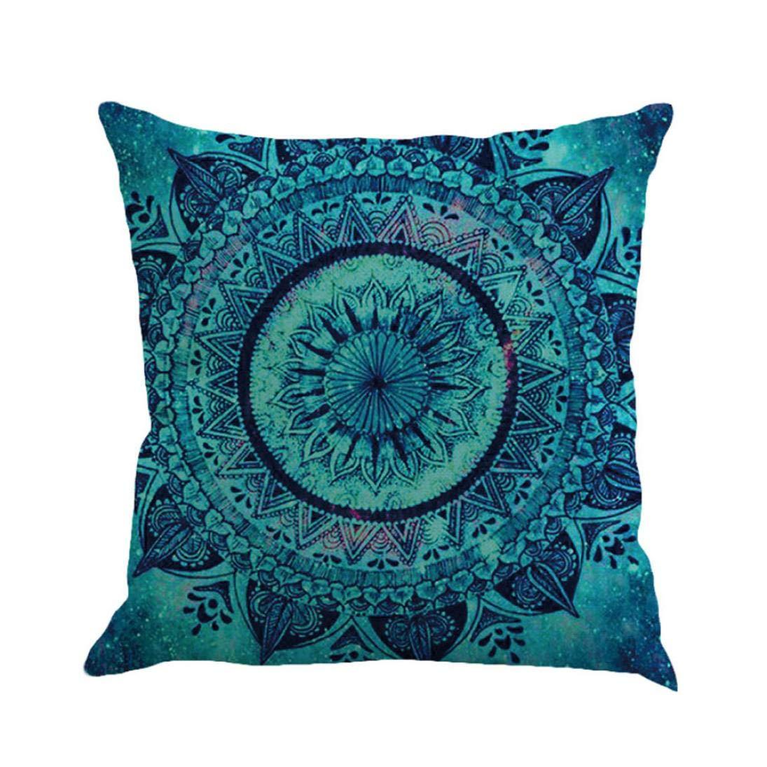 Alixyz Fashion Boho Print Patterns Pillow Cases Home Decor Pillow Case Linen Sofa Cushion Cover (A, M)