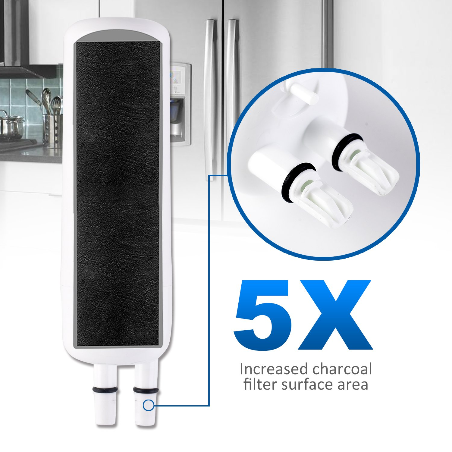 370 Refrigerator Water Filter,3 pack by FILTERCLE (Image #3)