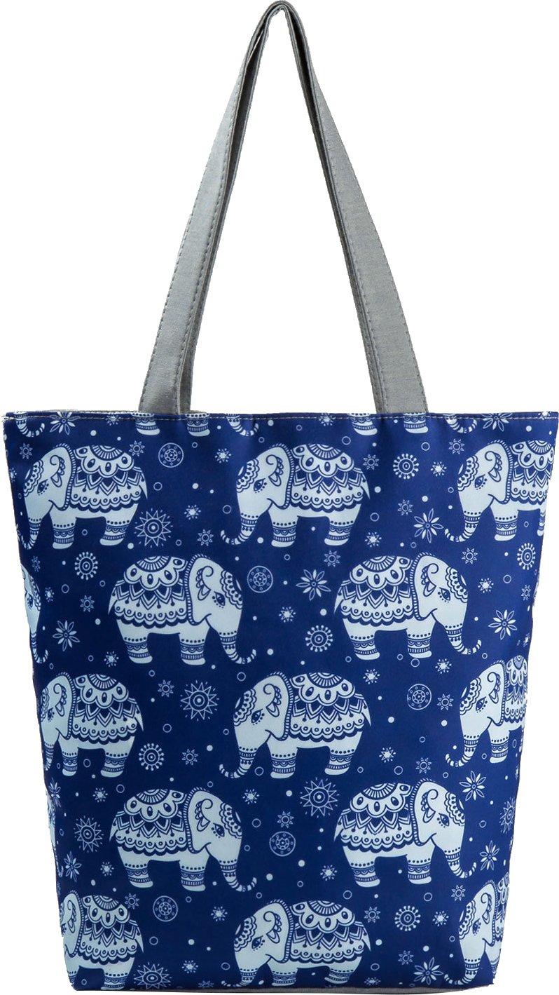 Ababalaya Creative Unicorn Pineapple Flamingo Print Zipper Canvas Tote Bag for Women Girls,Elephant