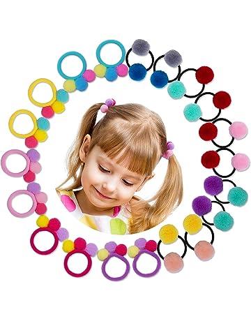 HBselect 20 pcs Gomas Pelo Niña Bebe Colores 10 Pares Gomas Elasticas Pequeñas De Bola Pequeña