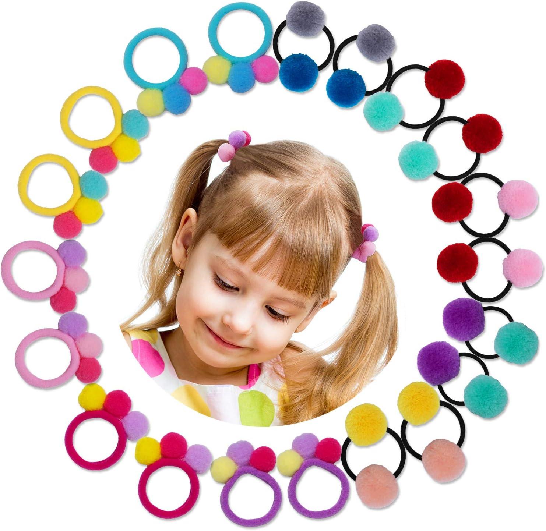 HBselect 20 pcs Gomas Pelo Niña Bebe Colores 10 Pares Gomas Elasticas Pequeñas De Bola Pequeña Patrón Goma Pelo Bebe Niña Para El Cabello