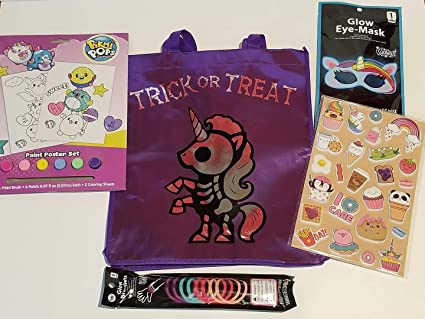 Halloween Unicorn Bundle for Girls Includes Unicorn Reusable Treat Bag, Unicorn Glow Eye Mask,