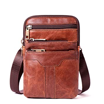 Chibi-store Genuine Leather Messenger Bag Men Zipper Leather Crossbody Bags for Men