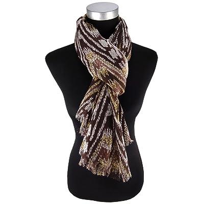écharpe en brun foncé brun beige ocker gris à motifs - écharpetaille 175 x 110 cm