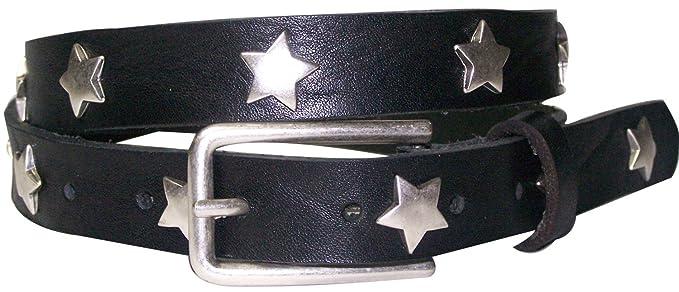 46a79ba48cf3c4 Fronhofer Sternnieten echt Leder Gürtel Sterne Damengürtel, Farbe:Schwarz,  Größe:Bundweite 75
