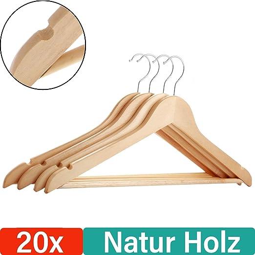 Star-Line®20 perchas de madera con barra para pantalones y dos ...