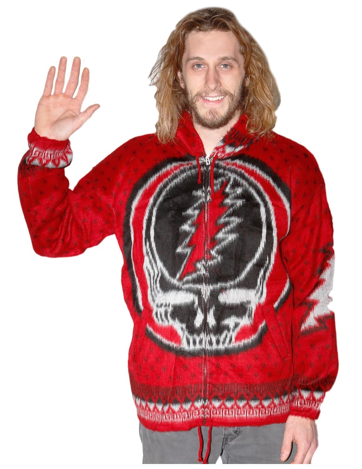 Grateful Dead Alpaca Style Zip Up Hooded Sweater Jacket Steal Your Face Ramatex GD1001-P