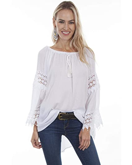 f206fe41f1f Scully Women s Honey Creek by Crochet Lace Long Sleeve Blouse at Amazon Women s  Clothing store