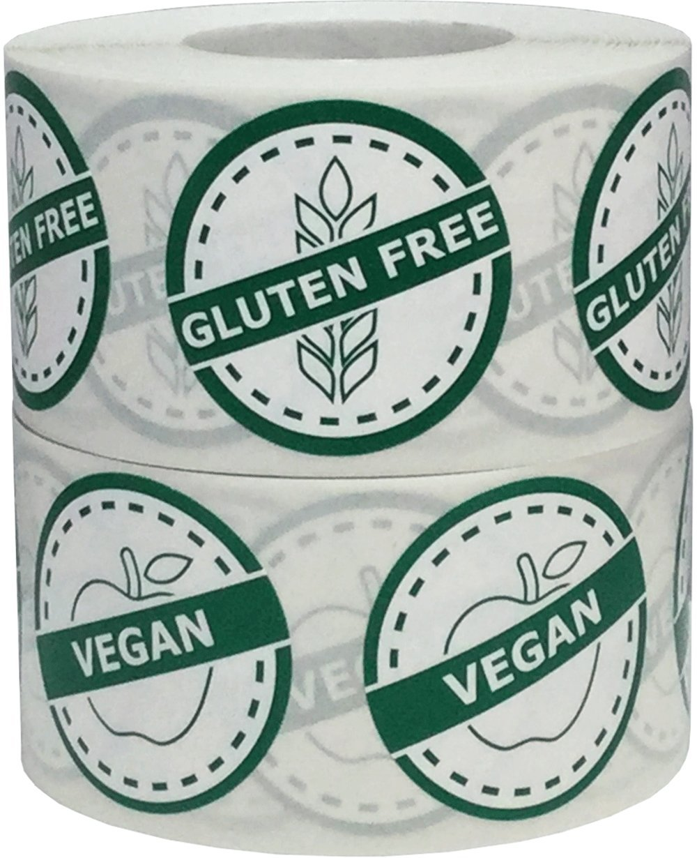 Vegan and Gluten Free Food Rotation Labels Value Pack 1 1/4 Inch Round Circle Dots 1,000 Adhesive Stickers by InStockLabels.com