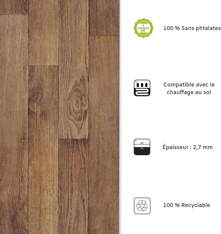 casa pura Rev/êtement Sol PVC Aspect Ch/êne Gris/é - 100x150 cm Stickers Effet Bois Sol PVC Rouleau Antid/érapant /& 100/% /Écologique Film Vinyle Pour Meuble /& Sol